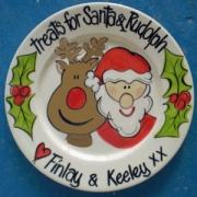 Handpainted Plate - Santa and Rudolph